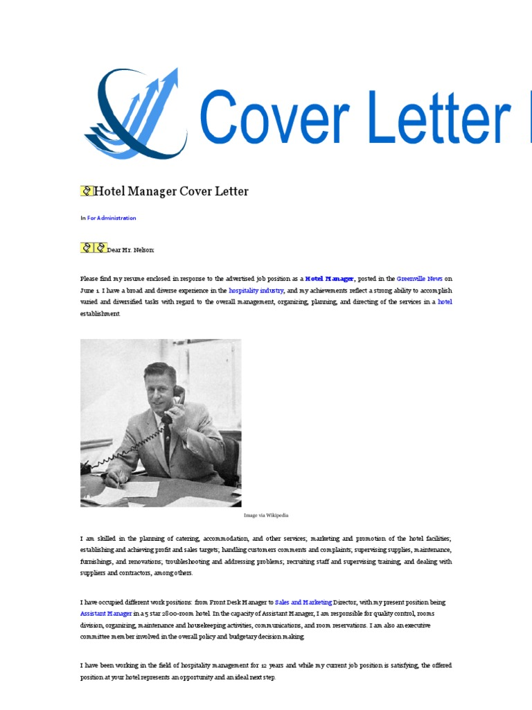 Hotel Manager Cover Letter | Curicculum vitae | Sodles