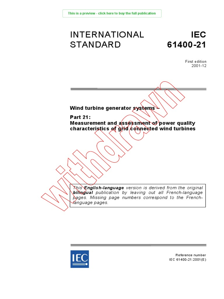 IEC 61400-21 | International Electrotechnical Commission