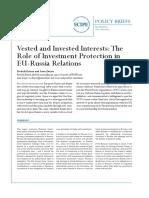 The Role of Investement protection in EU-Russia Relations (Eng)/ El papel de protección de la inversión en las relaciones UE-Rusia (Ing)/ Inbertsioaren babesa, EB-Errusia erlazioen barruan (Ing)