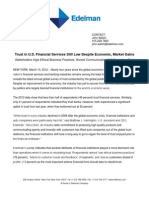 Trust in U.S. Financial Services Still Low Despite Economic, Market Gains