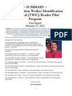 Summary - TWIC Reader Pilot Report (2!27!12) - 24p Final 4
