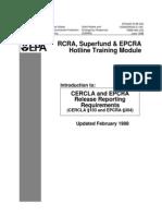 RCRA Superfund and EPCRA Training Module