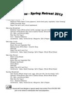 20212 Spring Retreat Menu