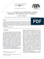 Slangen 2006 National CD and Initial Foreign Acquisition Performance-The Moderating Effect of Integration JWB