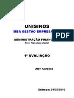 Adm Financeira - Avaliação 1 - Alex Cardoso