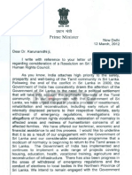 Indian PM's letter to Karunanidhi about UN resolution against Sri Lanka