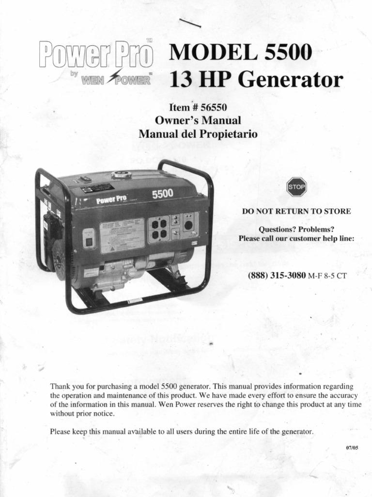POWER PRO Model 5500 13HP Generator Owners Manual on