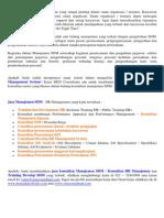 Consultant HR / Jasa Penyusunan Job Description / Konsultan Manajemen SDM / Konsultan SOP / Jasa Pembuatan Peraturan Perusahaan / Konsultan Manajemen Kinerja / Jasa Penyusunan KPI / Job Analysis Consultant / Training & Development HR