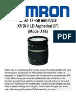 Tamron 17-50mm Owner's Manual