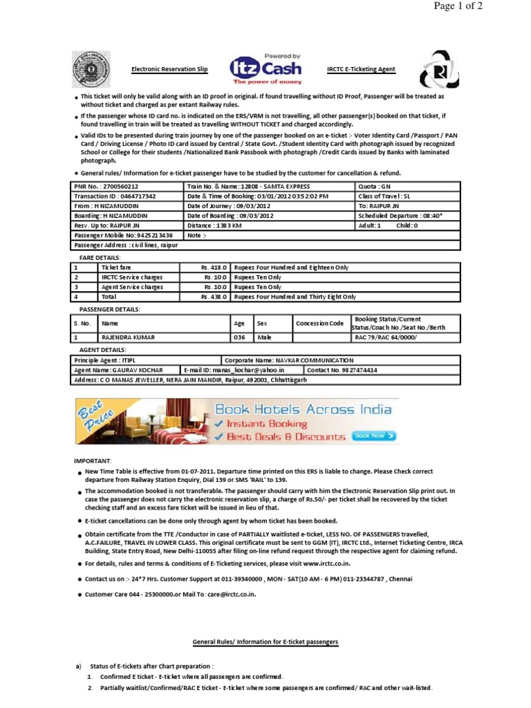Irctc Sample Train Ticket Rail Transport