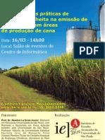 """Palestra  """"O impacto das práticas de preparo e colheita na emissão de CO2 do solo em áreas de produção de cana"""""""