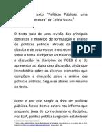 Síntese do texto de SOUZA Políticas publicas uma revisão de literatura