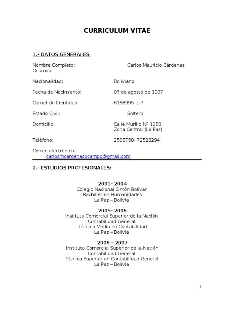 Curriculum Vitae   Auditoría   Contador