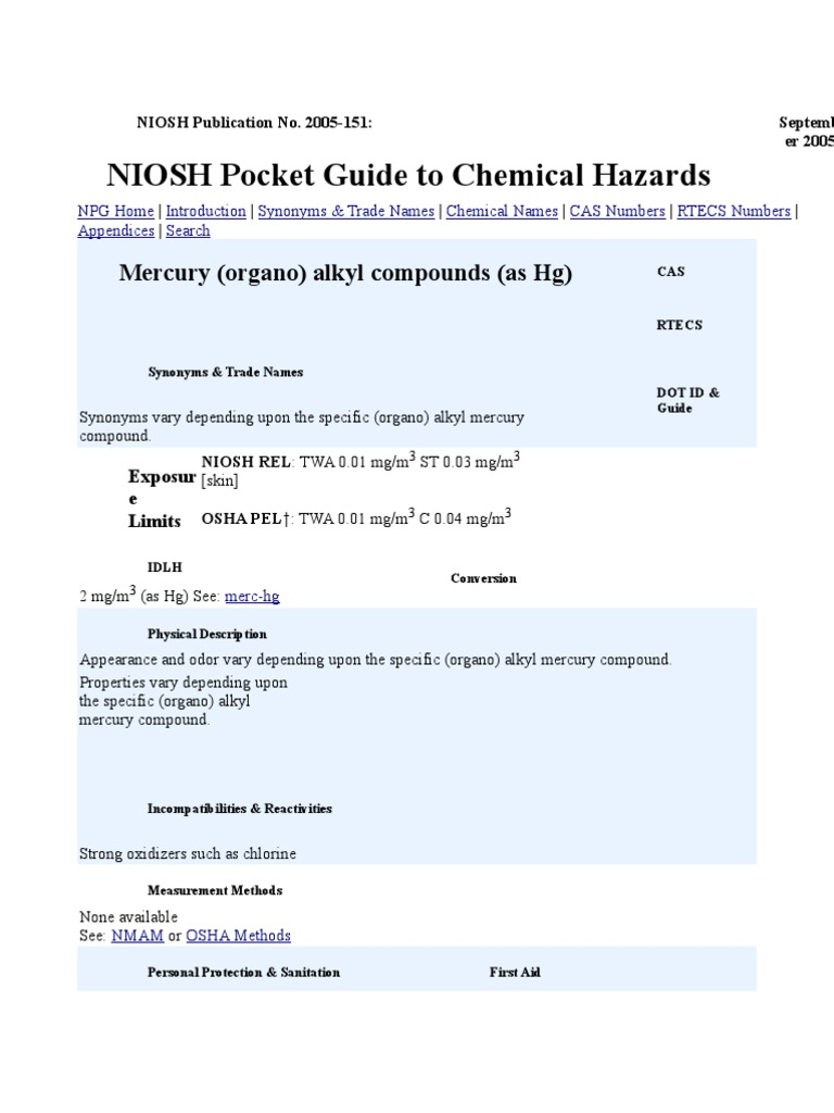 alkyl compounds mercury element chemistry rh scribd com Cal OSHA Pocket Guide Cover NIOSH Standards