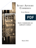 Sunset Commission Report Judicial Conduct Board