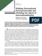 Defining International Entrepreneurship and Modeling the Speed of Internalization