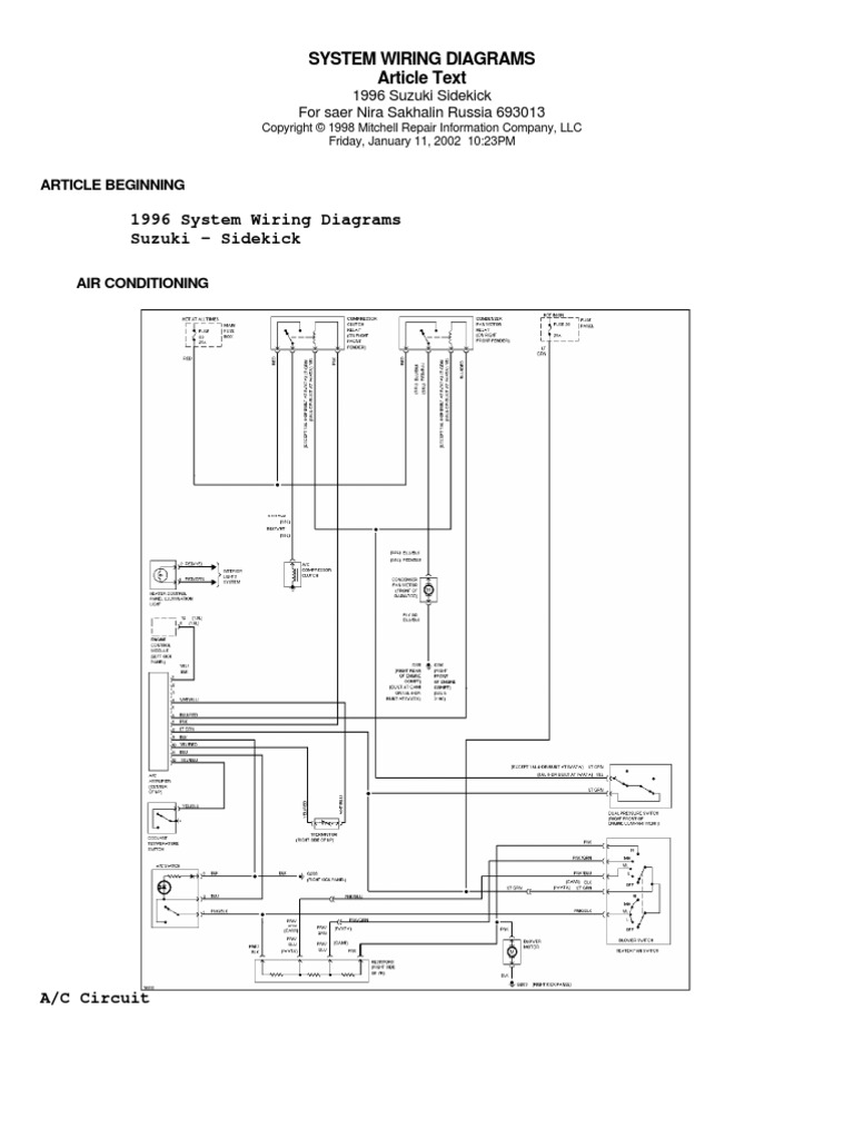 95 suzuki sidekick wiring diagram motor vehicle manufacturers rh scribd com