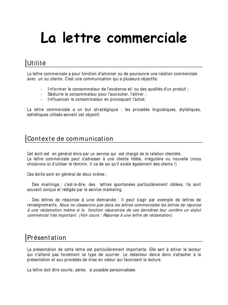 formule de politesse lettre client COURS La Lettre Commerciale formule de politesse lettre client