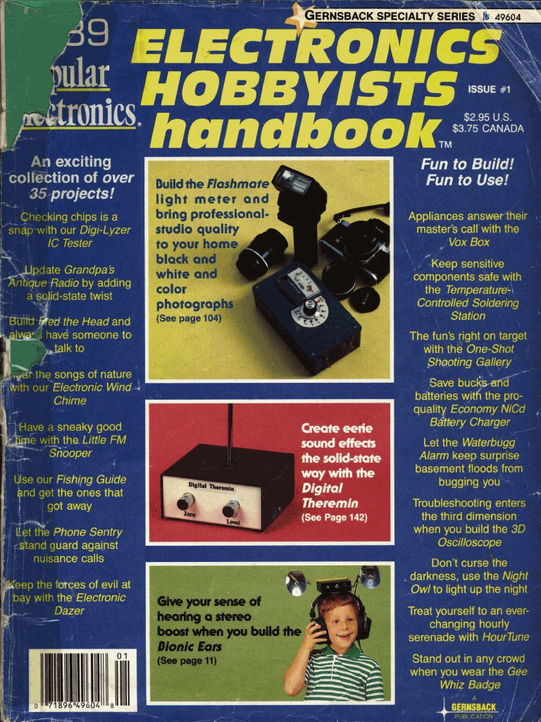 Popular Electronics Electronic Hobbyists Handbook 1989 Amplifier Touch Switch Using Cd4011 Circuits And Diagram Lens Optics