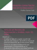La evaluación como factor de cambio en la eduación