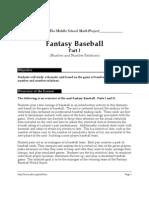 Fantasy Baseball Math Activity