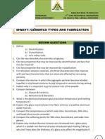 Sheet1 - Ceramics Types & Fabrication