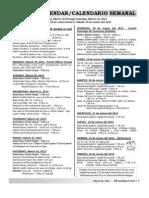 Calendario y en el Boletín de la Misión de San Luis Rey Parroquia, Domingo 18 de marzo