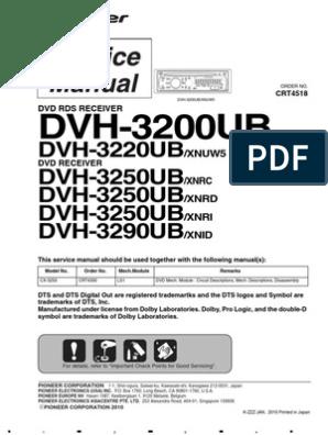 Pioneer Service Manual Dvh 3200ub 3220ub 3250ub 3290ub Mp3 Laser