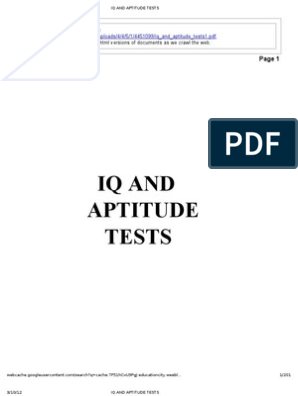Iq and Aptitude Tests | Intelligence Quotient | Test