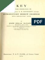 McFadyen, Key to the Exercises in Davidson's Hebrew Grammar (1924)