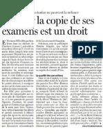 Obtenir La Copie de Ses Examens Est Un Droit