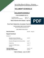Enrollment Schedule for 2012-2013