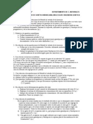 Selectividad Bloque Genética Molecular Y Mendeliana 1