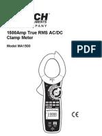 Test Equipmentshop.com Clamp on Meter AC Dc Clamp Meter MA1500 1500A True RMS AC DC Clamp Meter + NCV2