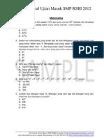 Soal Ujian masuk SMP RSBI