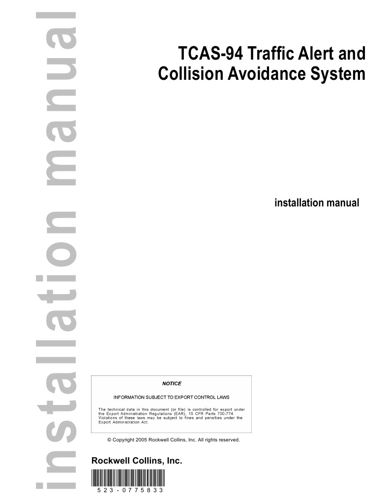 tcas-94 traffic alert and collision avoidance system: installation manual