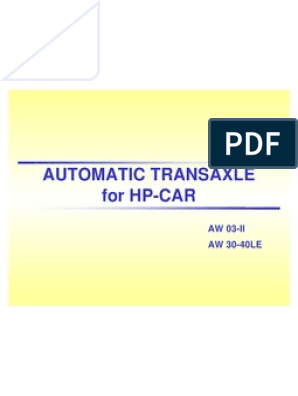 Aisin Aw 03 II_30 40LE | Automatic Transmission | Transmission (Mechanics)Scribd