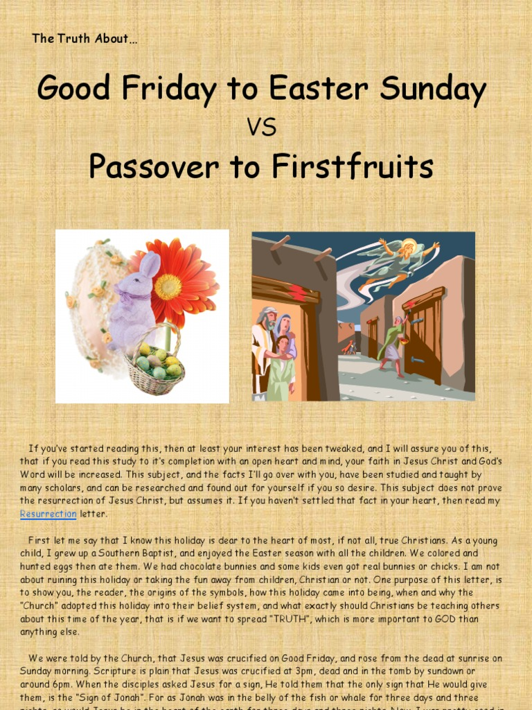 The Truth About Good Friday to Easter Sunday vs