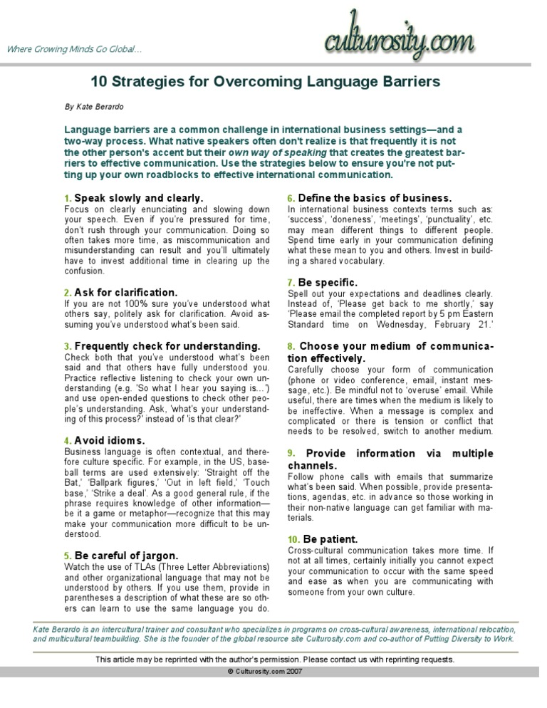 10 Strategies for Overcoming Language Barriers | Cross