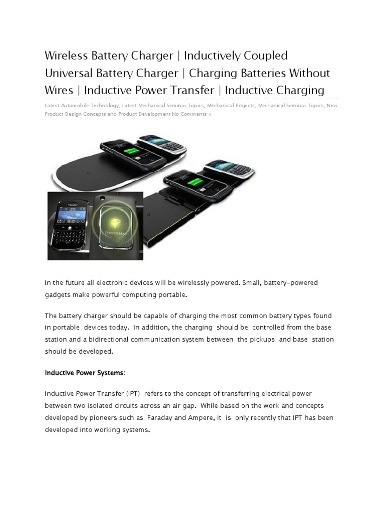 Wireless Battery Charger   Battery Charger   Inductor