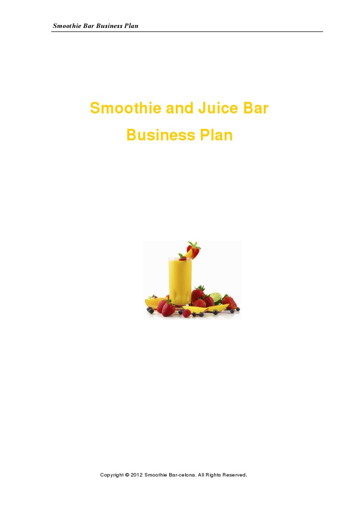 Business Plan Smoothie And Juice Bar | Juice | Nutrition
