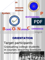Orientation Program for Applicants or Examinees to the Professional Regulation Commission PRC Board of Nursing BON National Licensure Examination System for Registered Nurses Republic of the Philippines