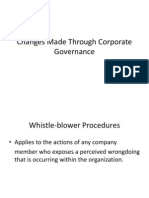 Changes Applied Through Corporate Governance