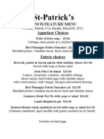 St Patricks Lunch Menu 2012