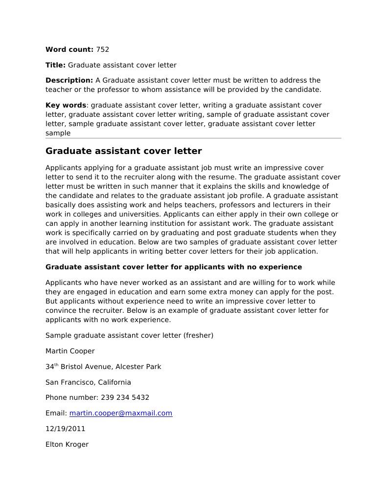 graduate assistant cover letter rsum professor
