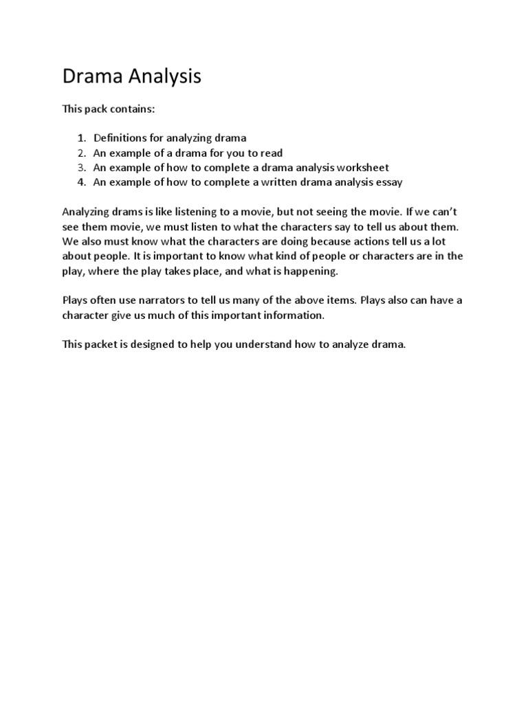 Dramaanalysisworksheetandactivity Narration Theatre