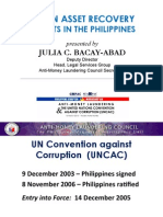 Stolen Asset Recovery Efforts in the Philippines by Atty. Julia C. Bacay-Abad (March 16, 2012)