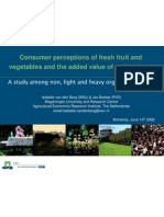 Consumer Perceptions of Fresh Fruit and Vegetables and the Added Value of Antioxidants