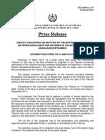 Maritime Boundery Burma-Myanmar Bangladesh Judgement ITLOS March14.