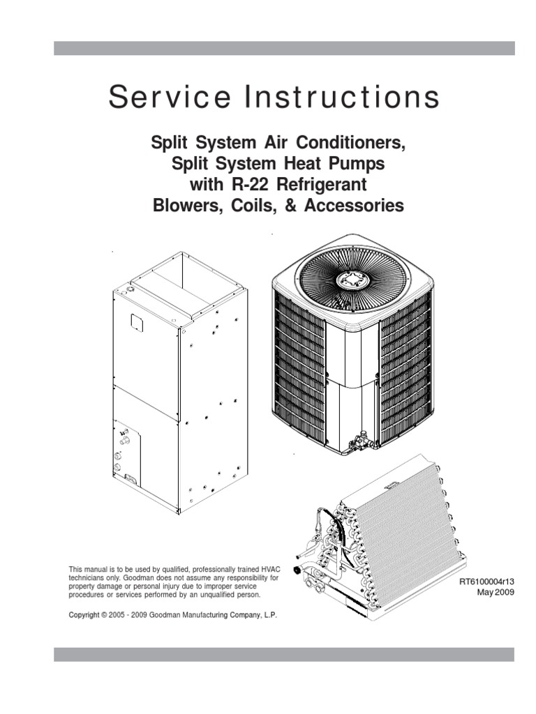 Goodman Service Instructions Rt6100004r13 May 2009 Thermostat Master Flow H1 Humidistat Wiring Diagram Heat Pump